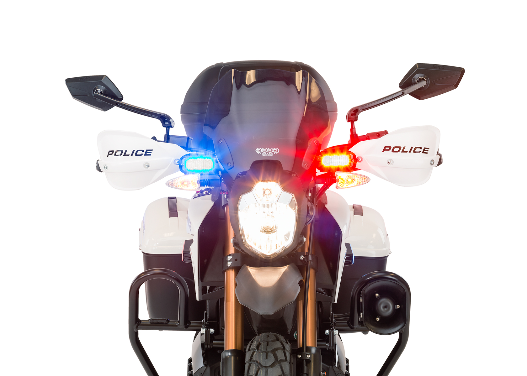 2013 Zero Police Electric Motorcycle: Front view, Lights on
