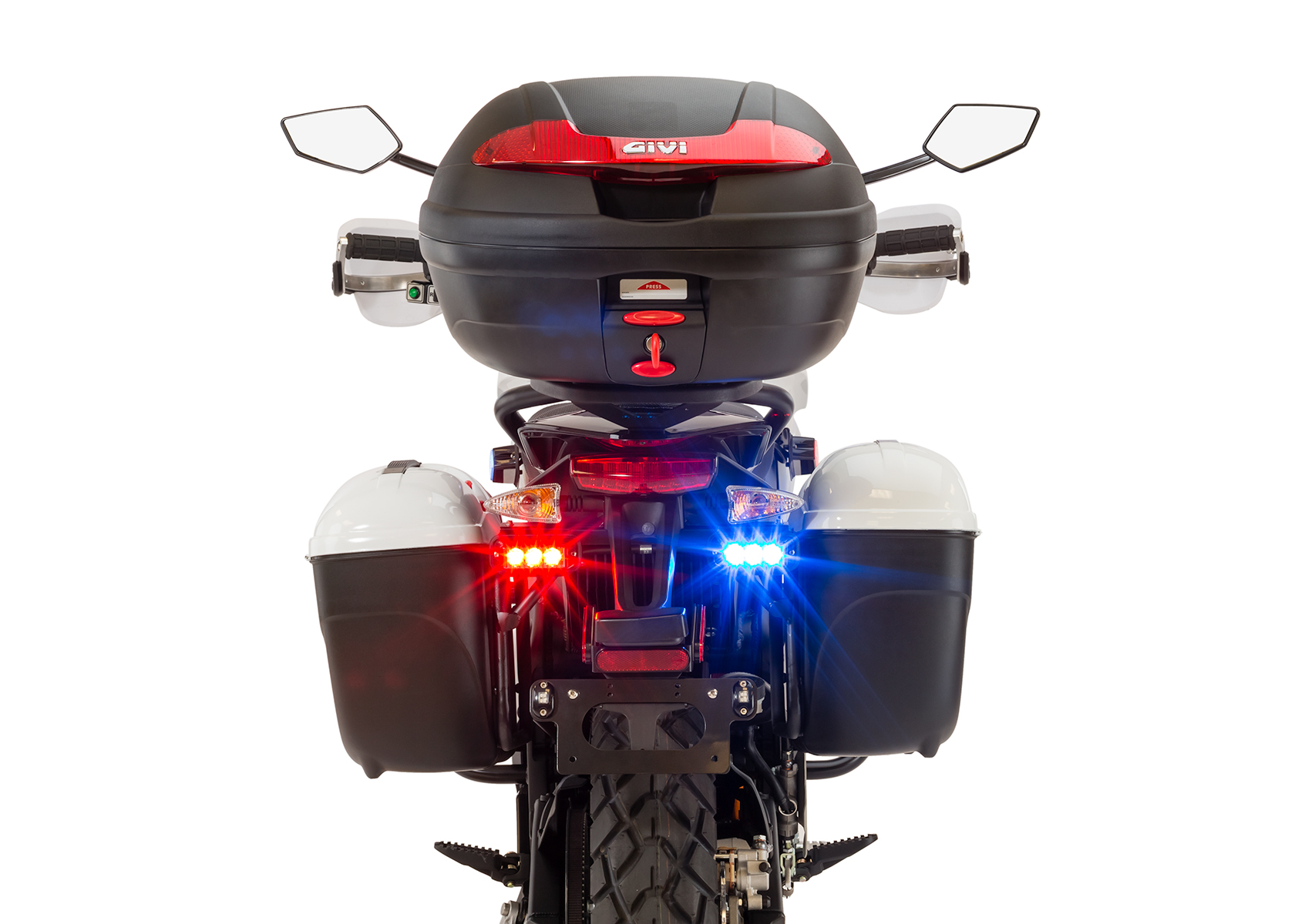 2013 Zero Police Electric Motorcycle: Rear, Lights on
