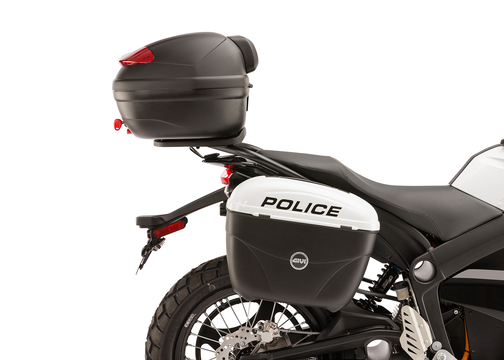 2013 zero police electric motorcycle right profile rear saddle bag and top box. Black Bedroom Furniture Sets. Home Design Ideas