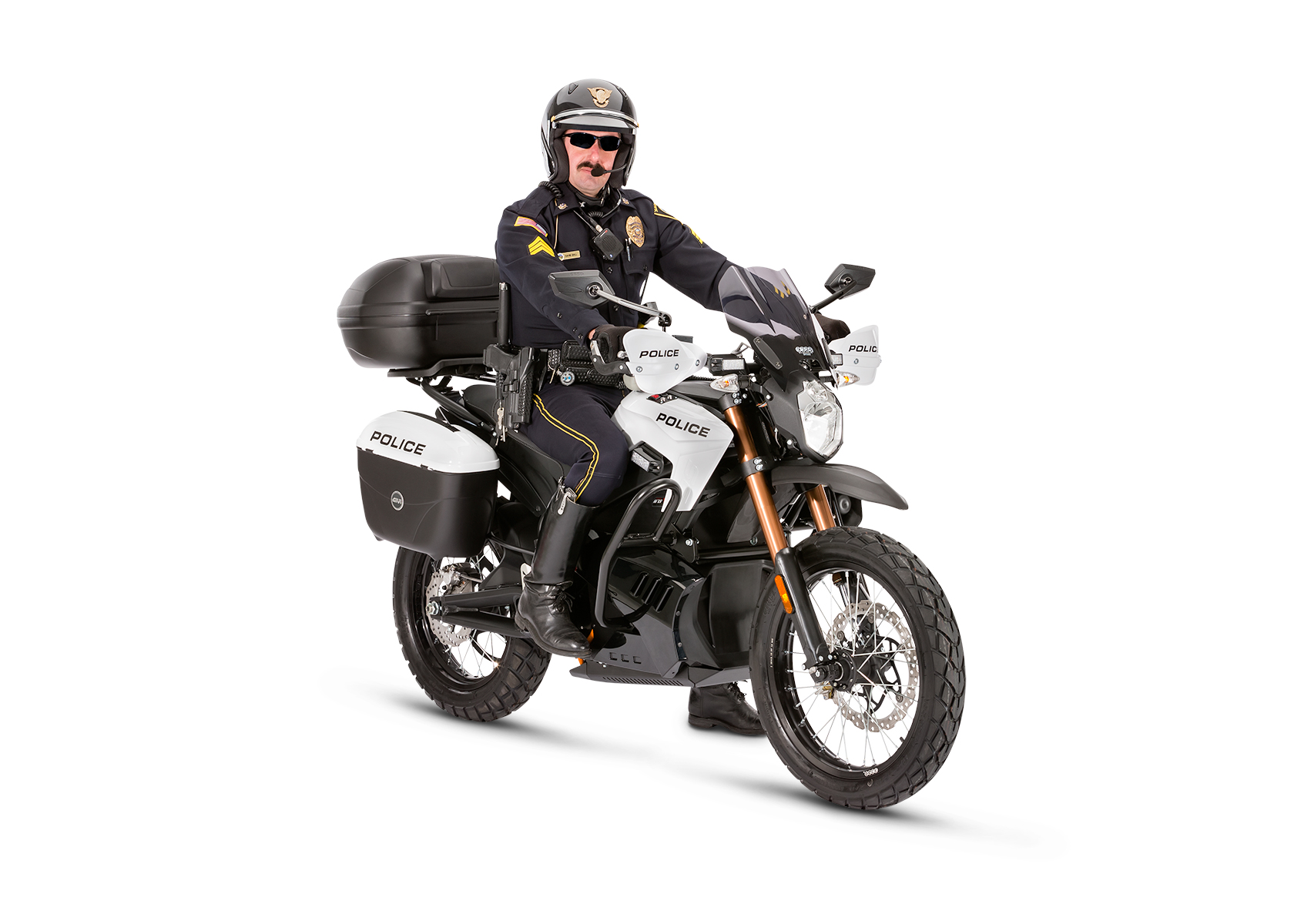 2013 Zero Police Electric Motorcycle: Right angle, White Background