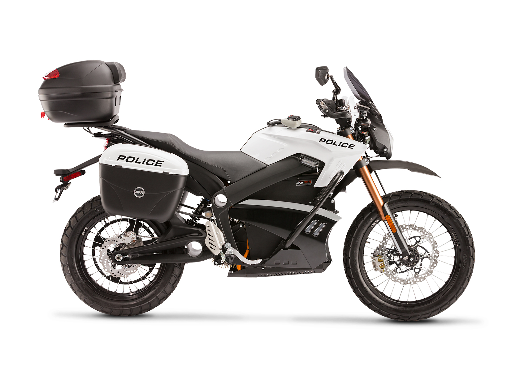 2013 Zero Police Electric Motorcycle: Right profile, White Background