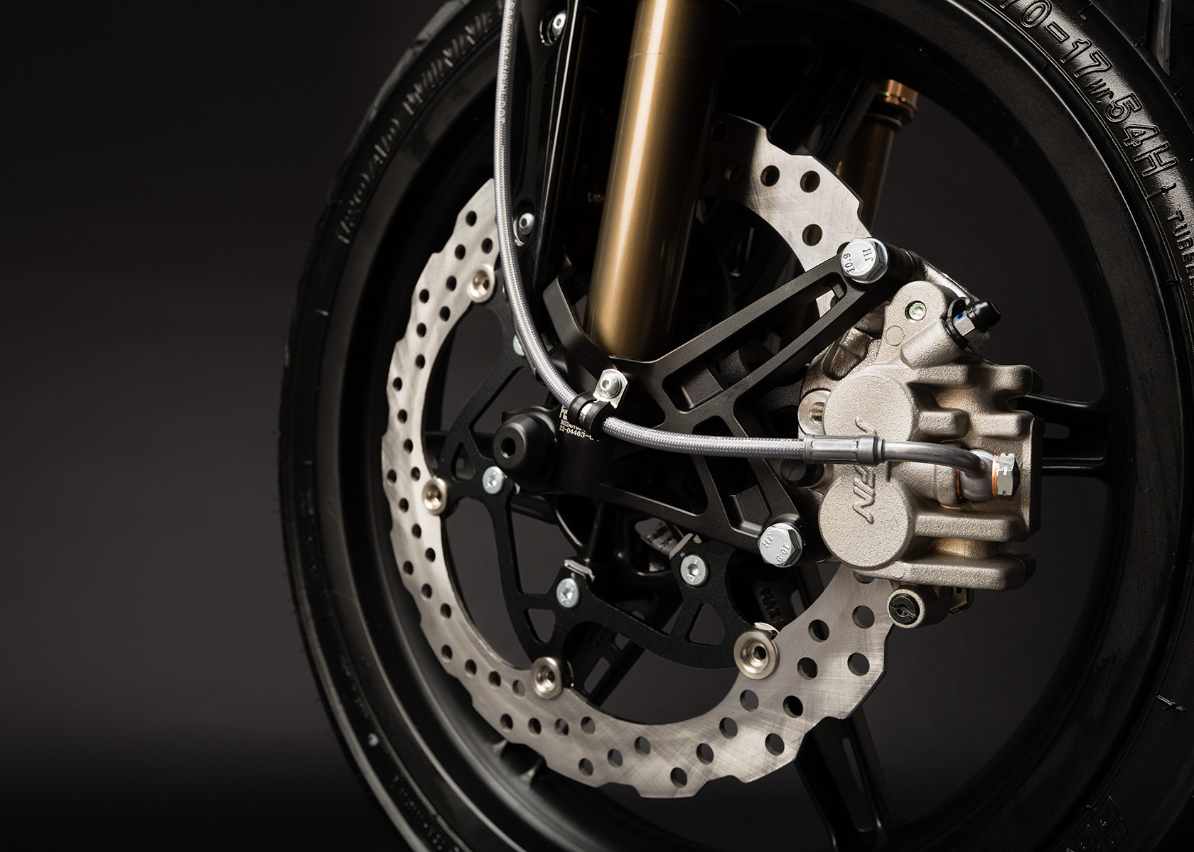 '.2013 Zero S Electric Motorcycle: Front brake.'