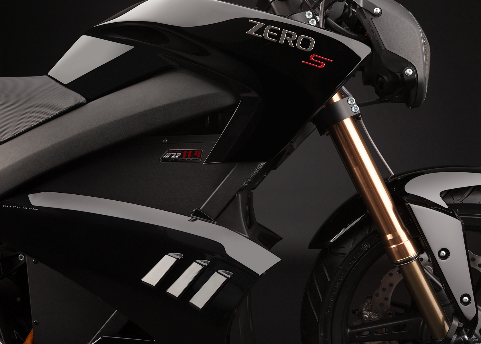 '.2013 Zero S Electric Motorcycle: Front Fork.'