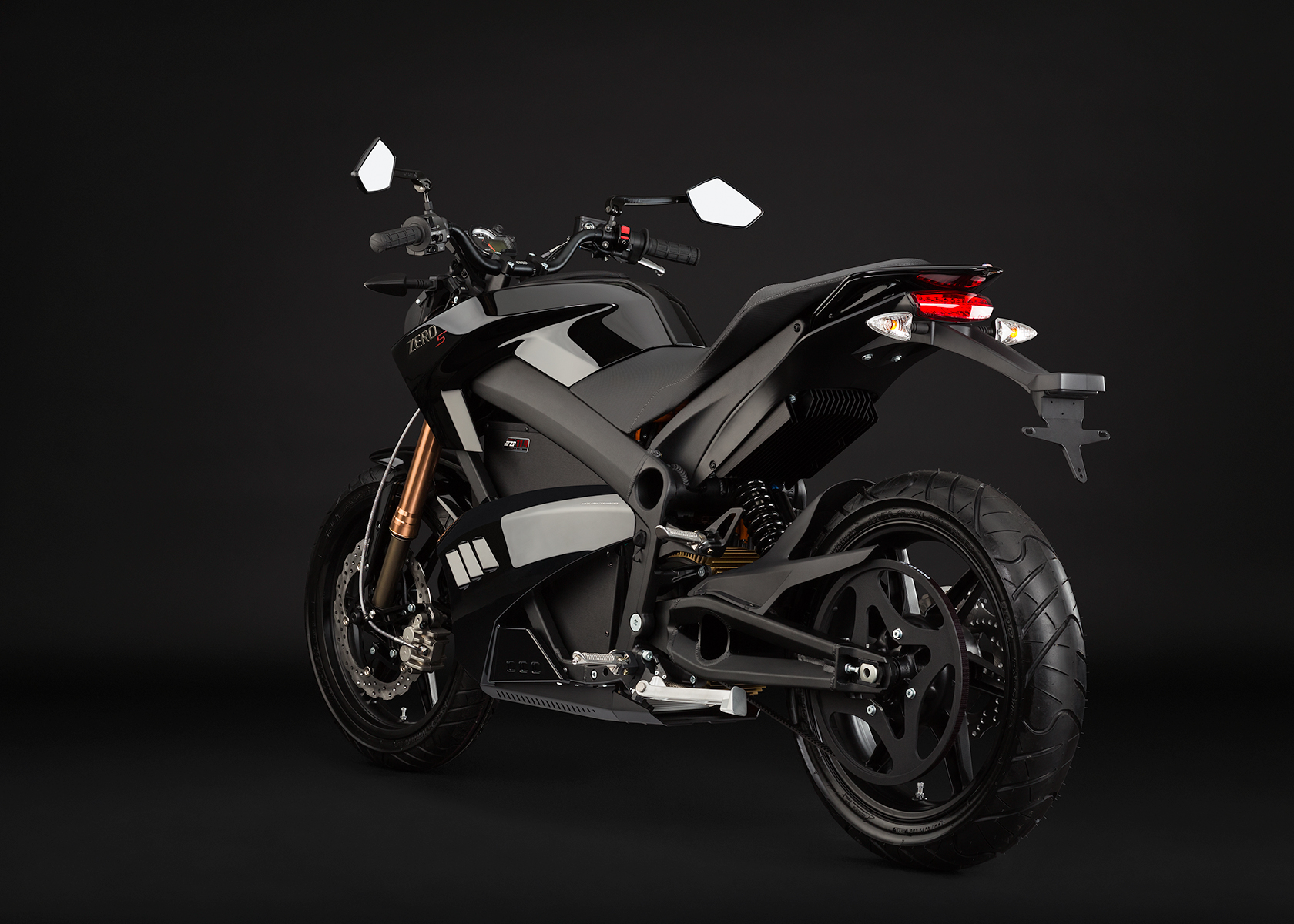 '.2013 Zero S Electric Motorcycle: Black Angle Left.'