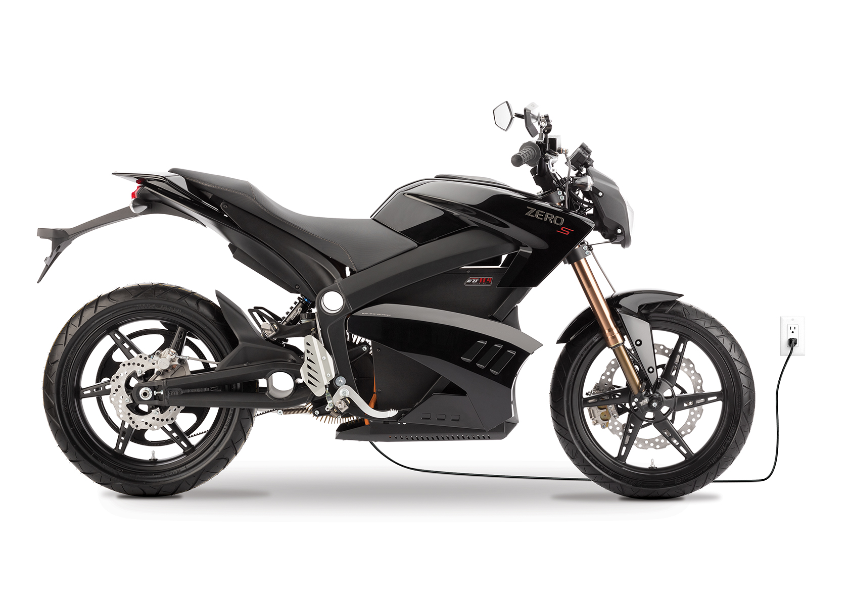 '.2013 Zero S Electric Motorcycle: Black Profile Right, Plugged In, White Background.'