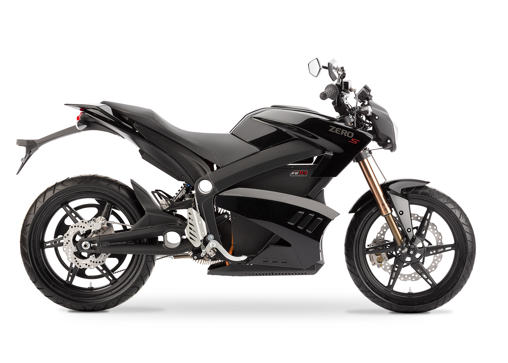 '.2013 Zero S Electric Motorcycle: Black Profile Right, White Background.'