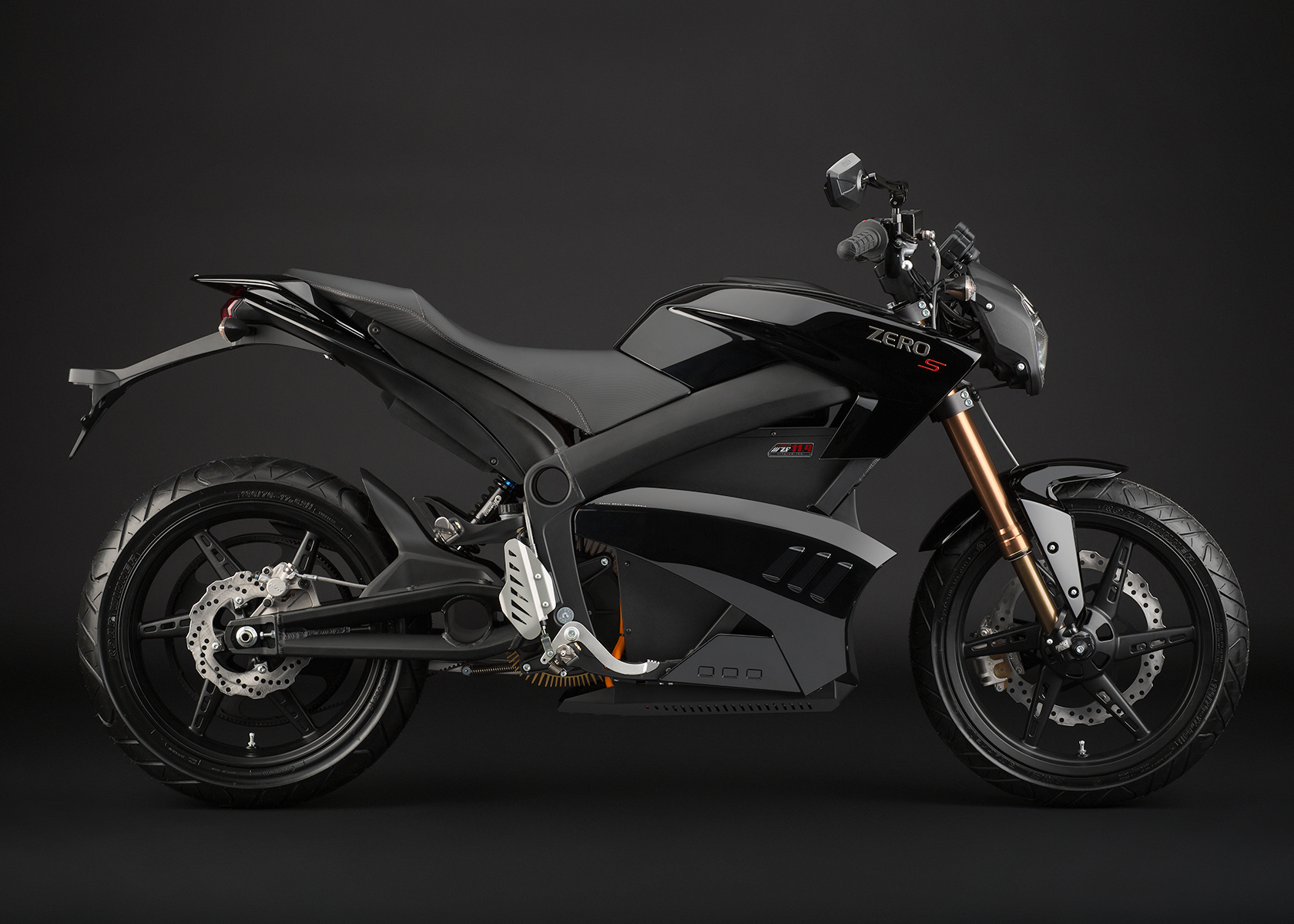 '.2013 Zero S Electric Motorcycle: Black Profile Right.'