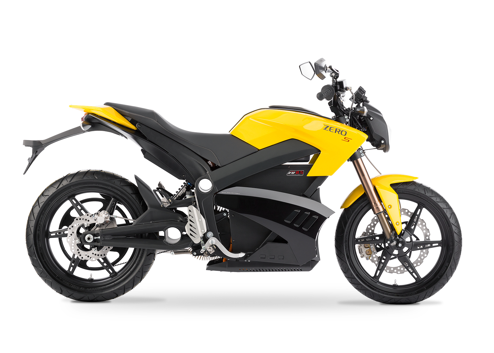 '.2013 Zero S Electric Motorcycle: Yellow Profile Right, White Background.'