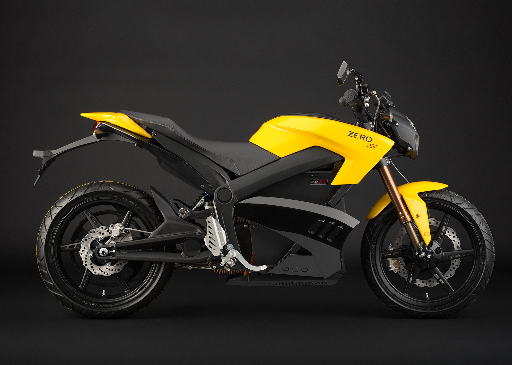 '.2013 Zero S Electric Motorcycle: Yellow Profile Right.'
