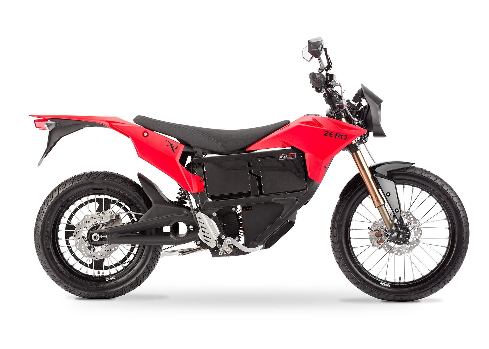 '.2013 Zero XU Electric Motorcycle: Profile Right, White Background.'