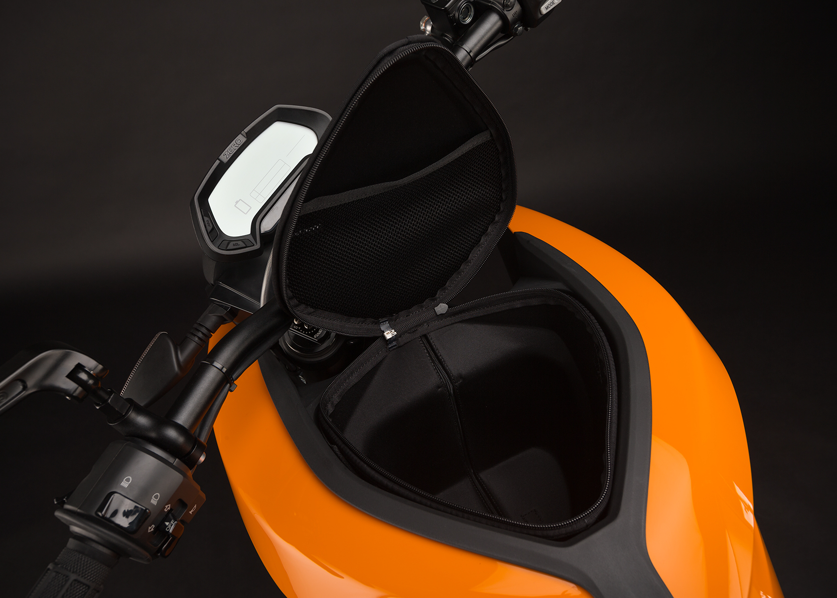 '.2014 Zero DS Electric Motorcycle: Tank Storage Compartment.'