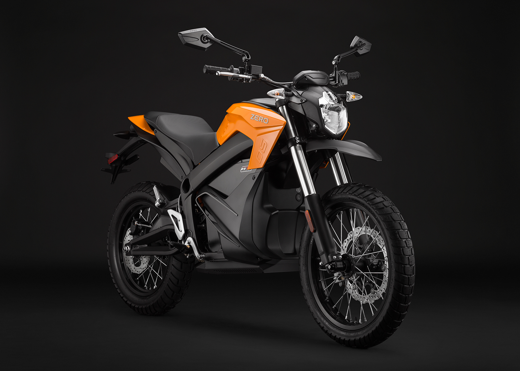 '.2014 Zero DS Electric Motorcycle: Orange Angle Right.'