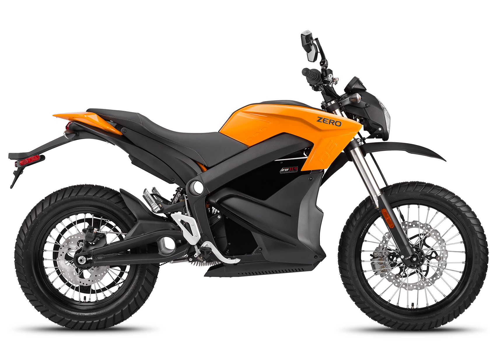 '.2014 Zero DS Electric Motorcycle: Orange Profile Right, White Background.'