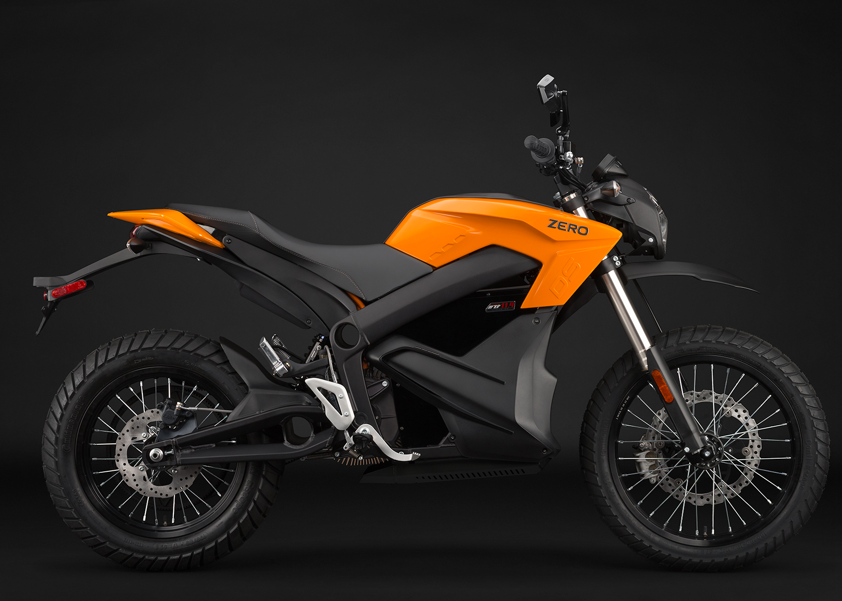 '.2014 Zero DS Electric Motorcycle: Orange Profile Right.'