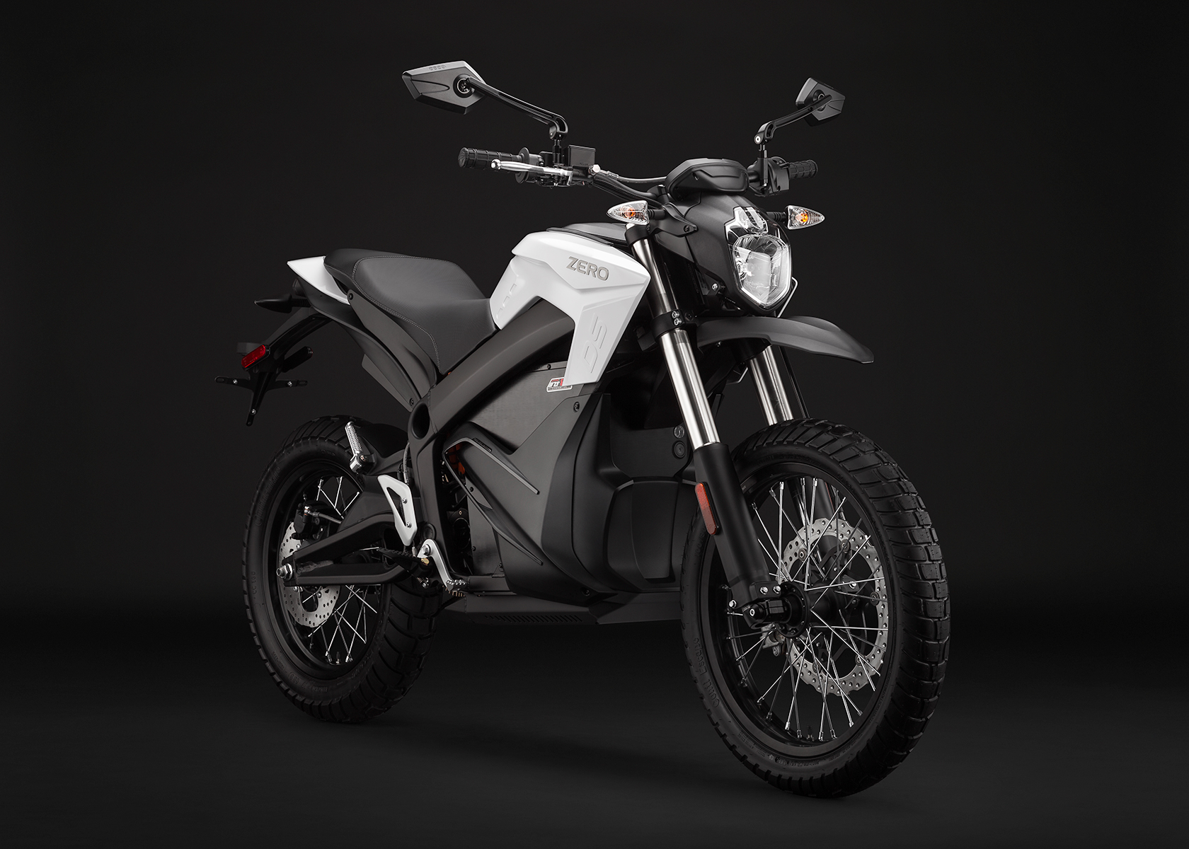 '.2014 Zero DS Electric Motorcycle: White Angle Right.'