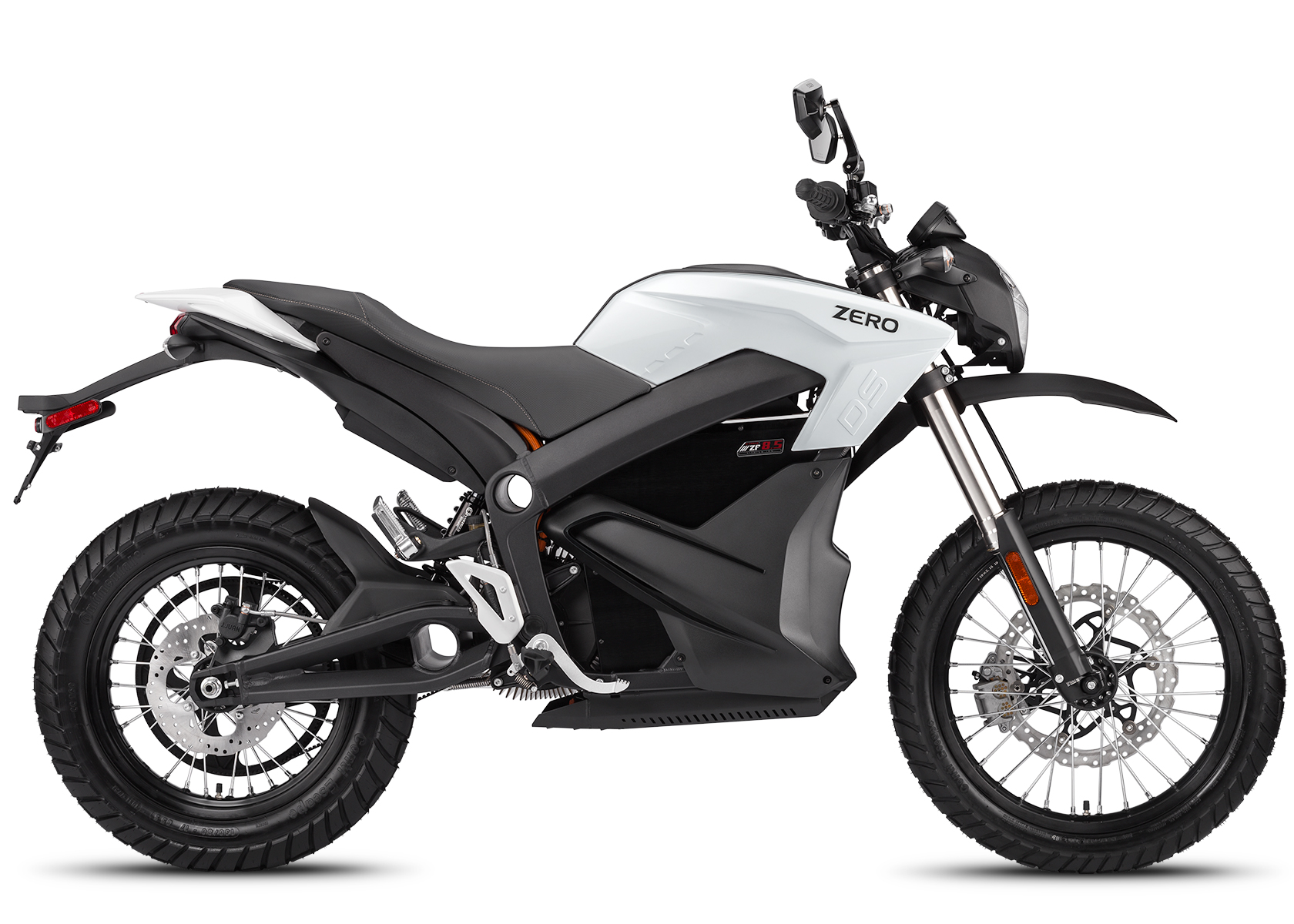 '.2014 Zero DS Electric Motorcycle: White Profile Right, White Background.'