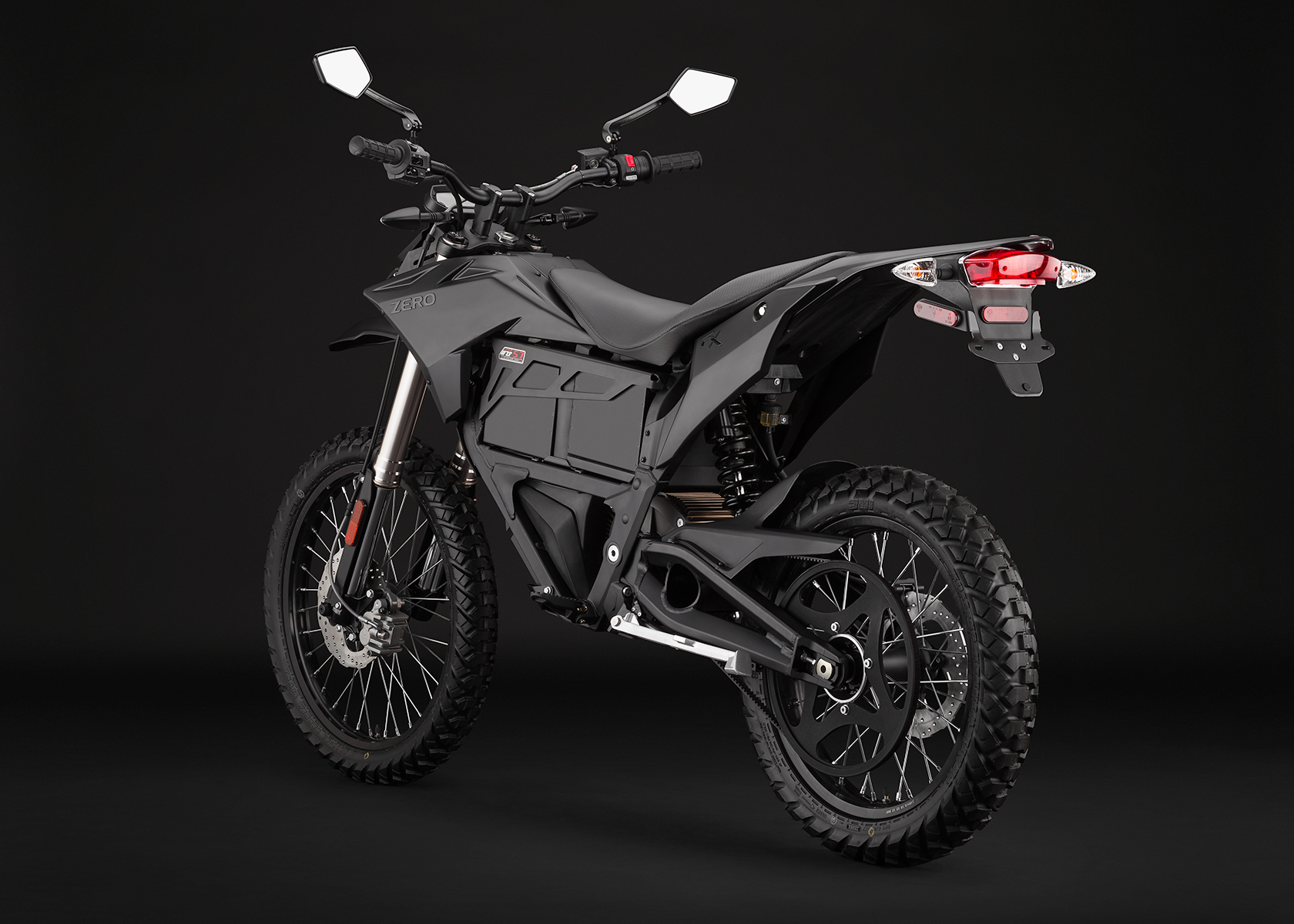 '.2014 Zero FX Electric Motorcycle: Black Angle Left.'