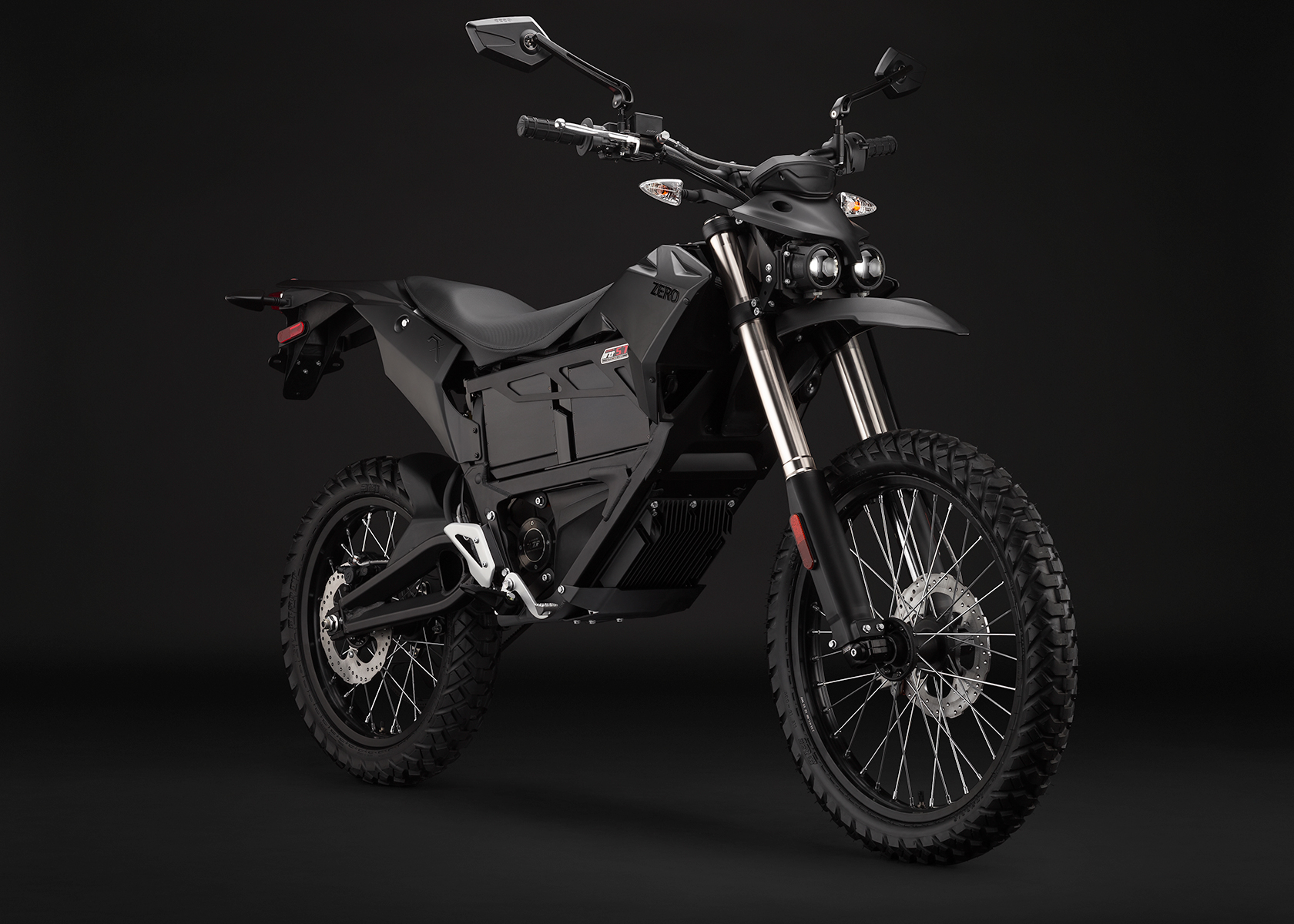 '.2014 Zero FX Electric Motorcycle: Black Angle Right.'