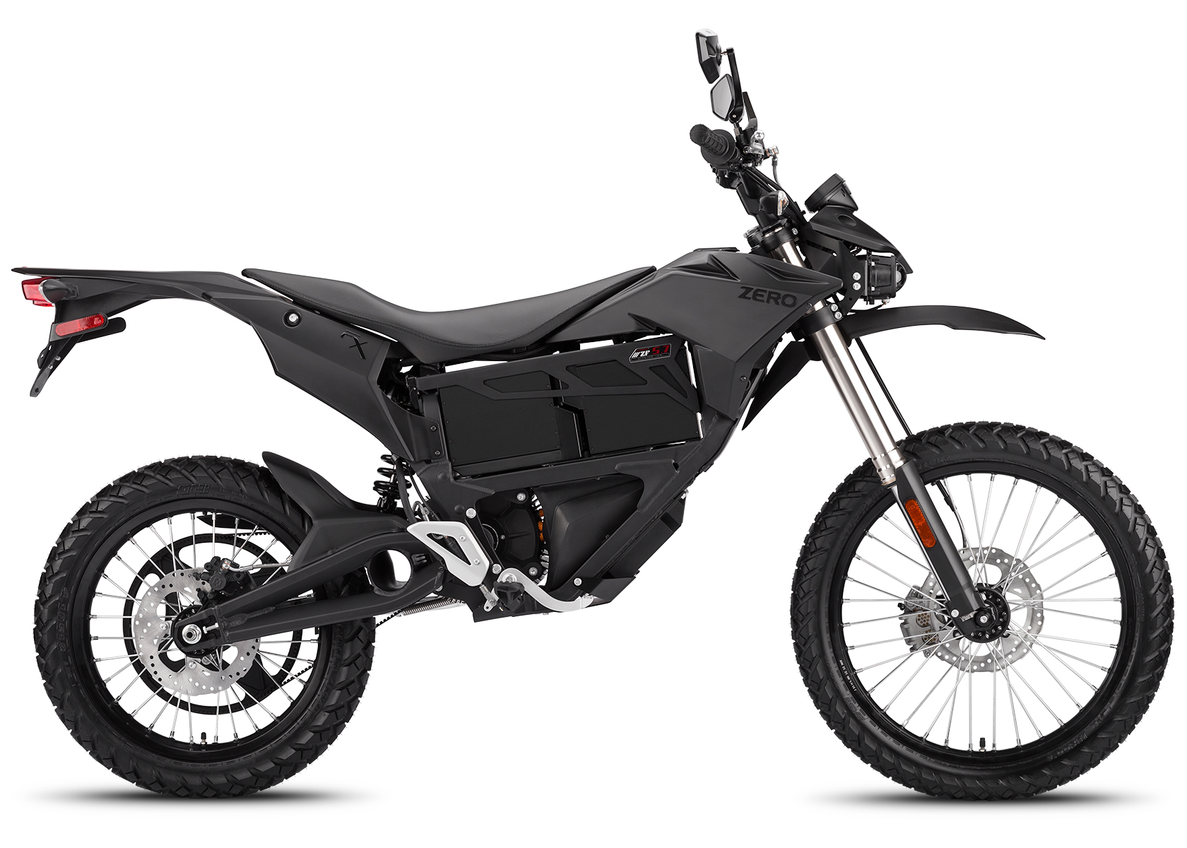 '.2014 Zero FX Electric Motorcycle: Black Profile Right, White Background.'