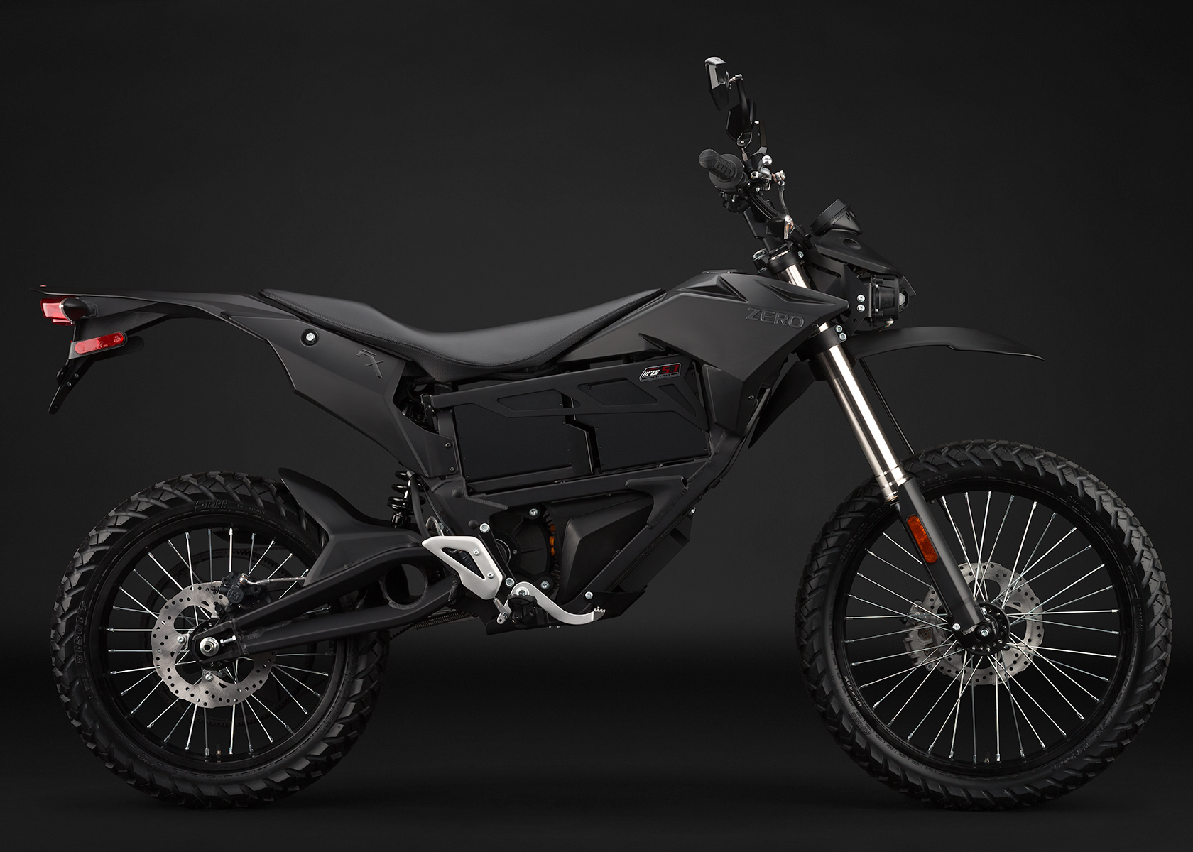 '.2014 Zero FX Electric Motorcycle: Black Profile Right.'