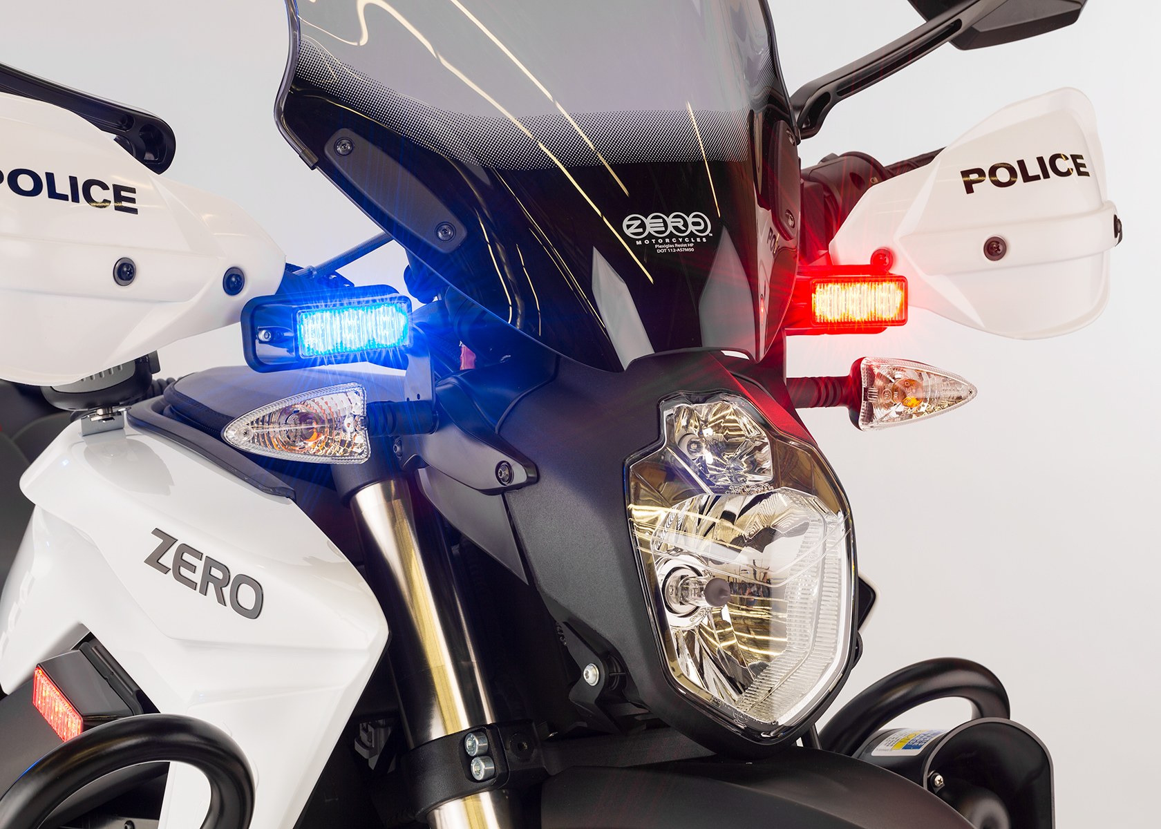 2014 Zero Police Electric Motorcycle: Front view, Lights on