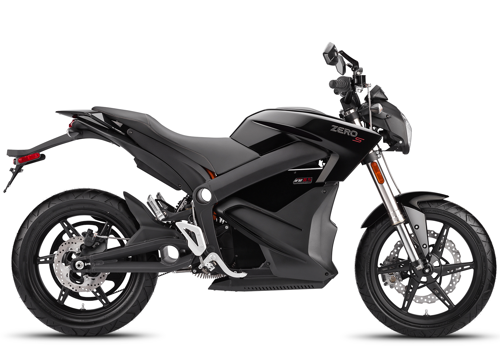 '.2014 Zero S Electric Motorcycle: Black Profile Right, White Background.'