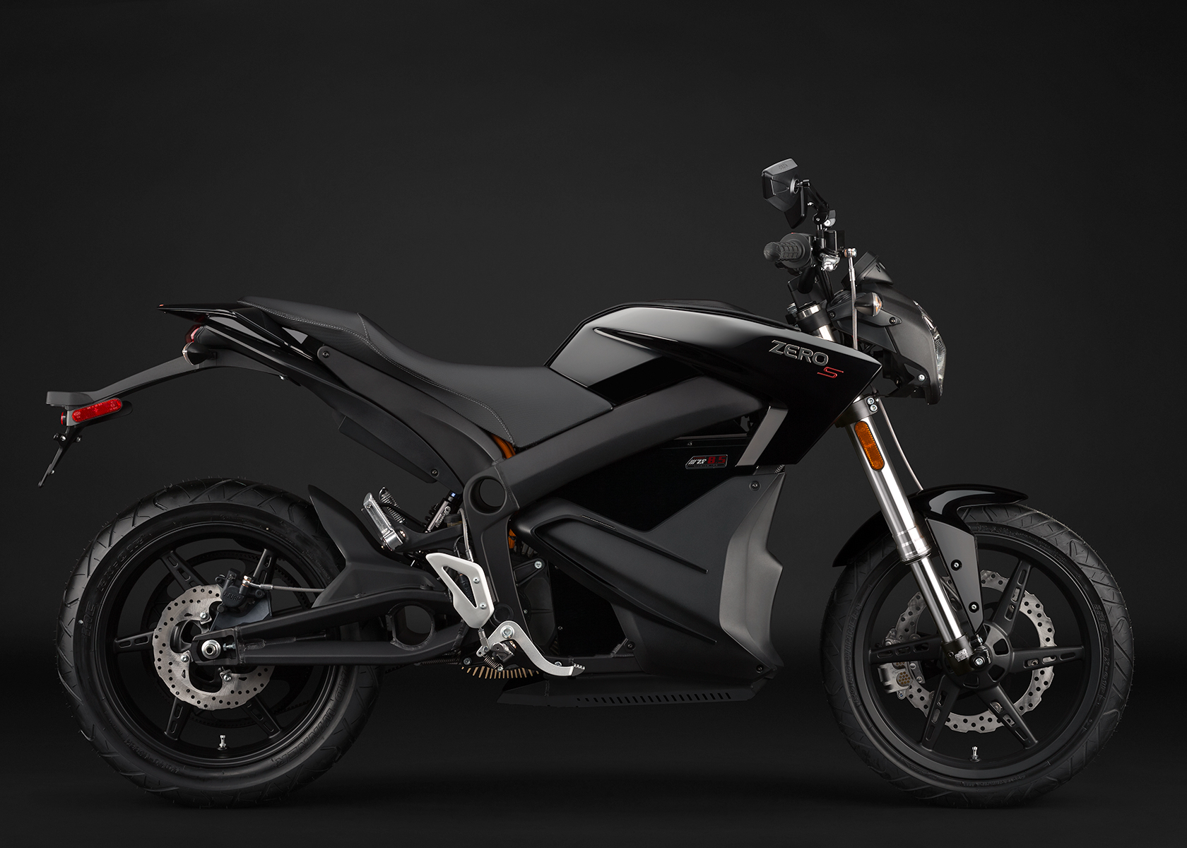 '.2014 Zero S Electric Motorcycle: Black Profile Right.'