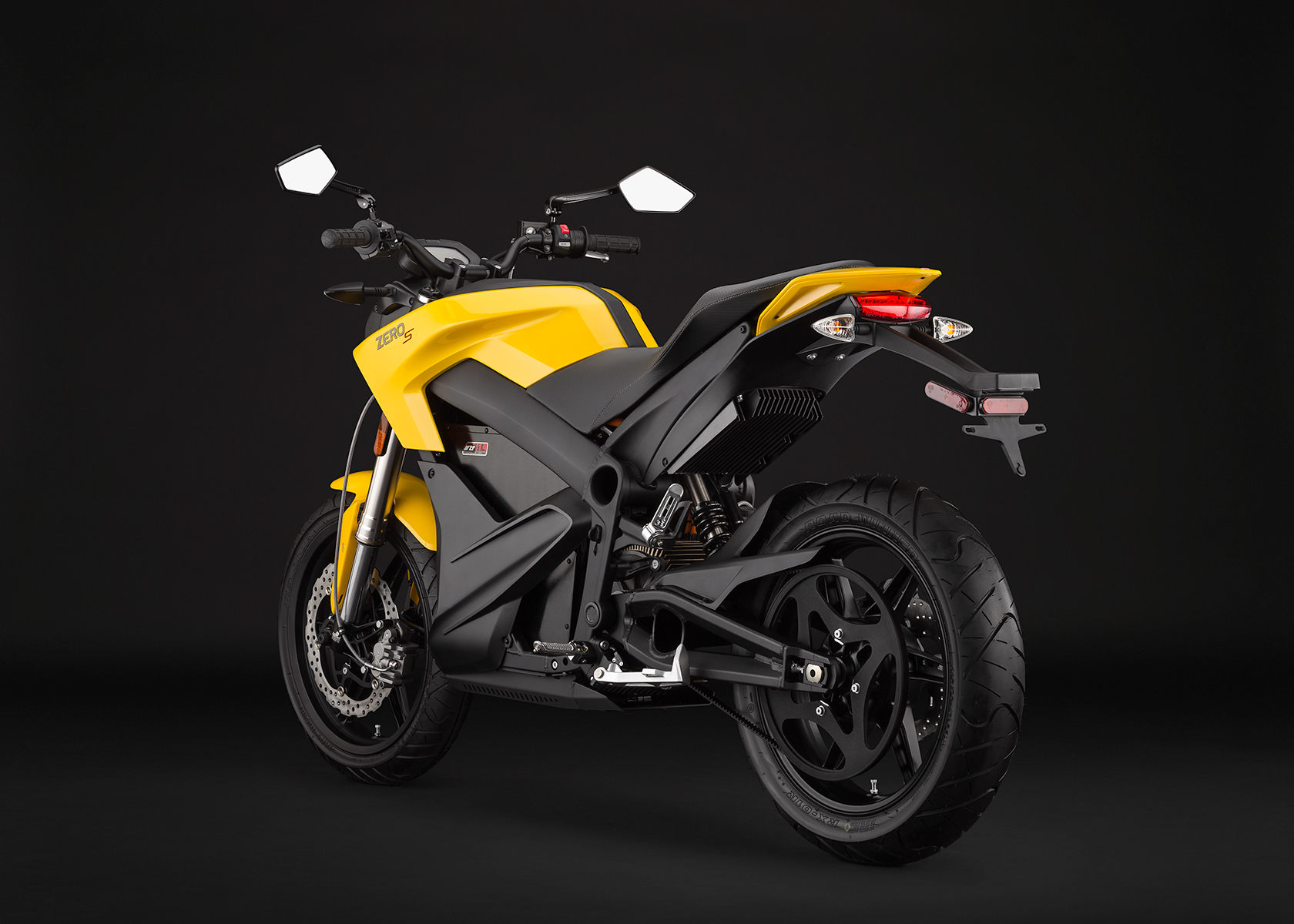 '.2014 Zero S Electric Motorcycle: Yellow Angle Left.'