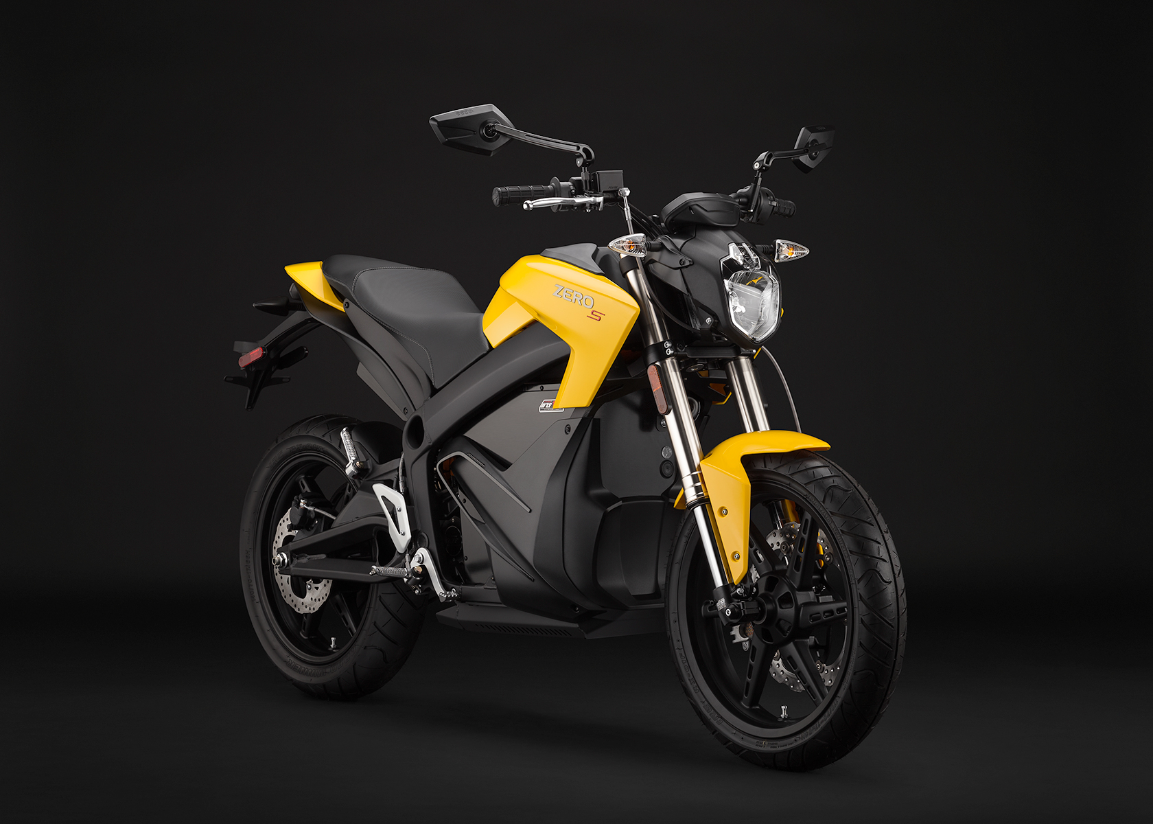 '.2014 Zero S Electric Motorcycle: Yellow Angle Right.'