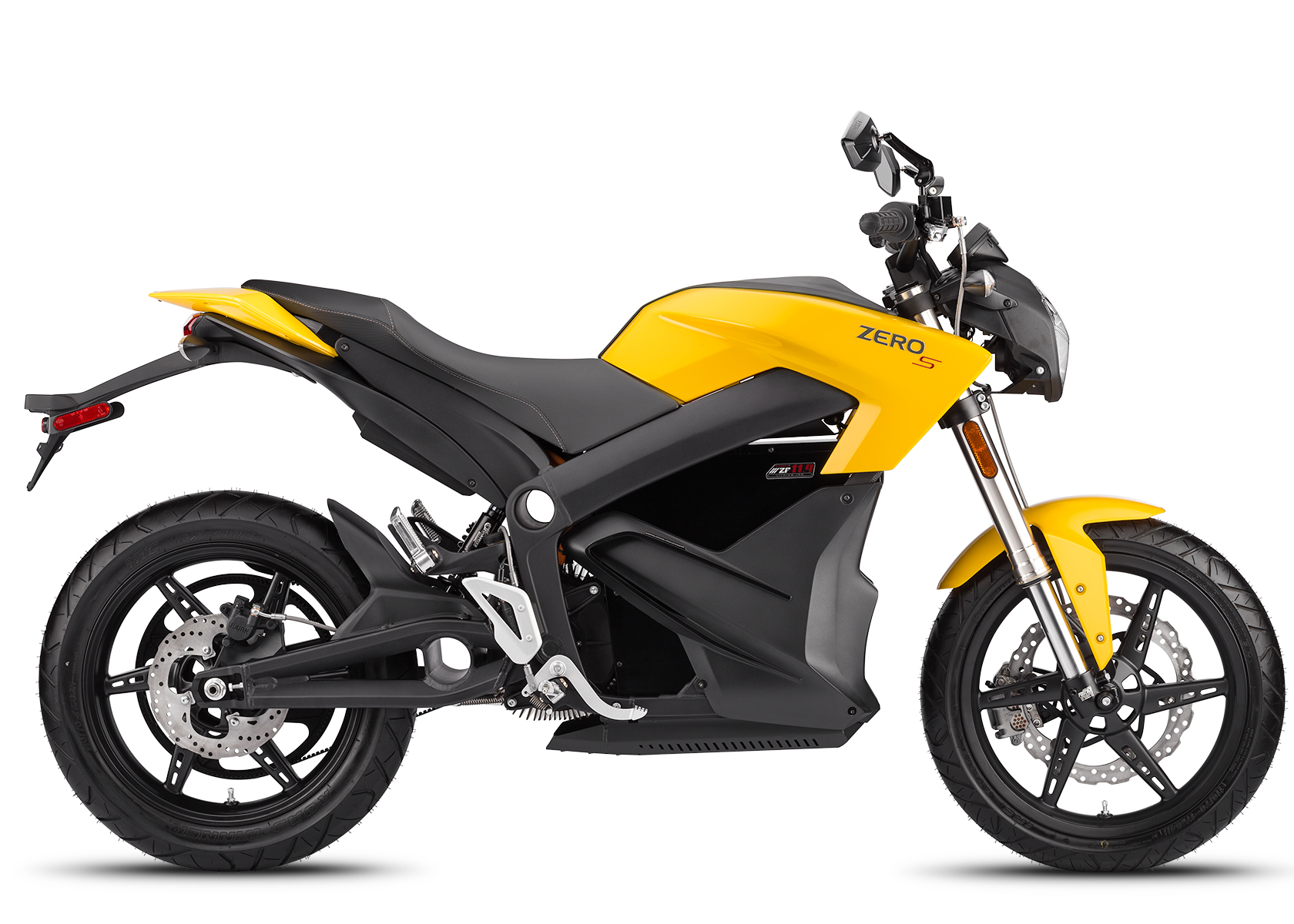 '.2014 Zero S Electric Motorcycle: Yellow Profile Right, White Background.'