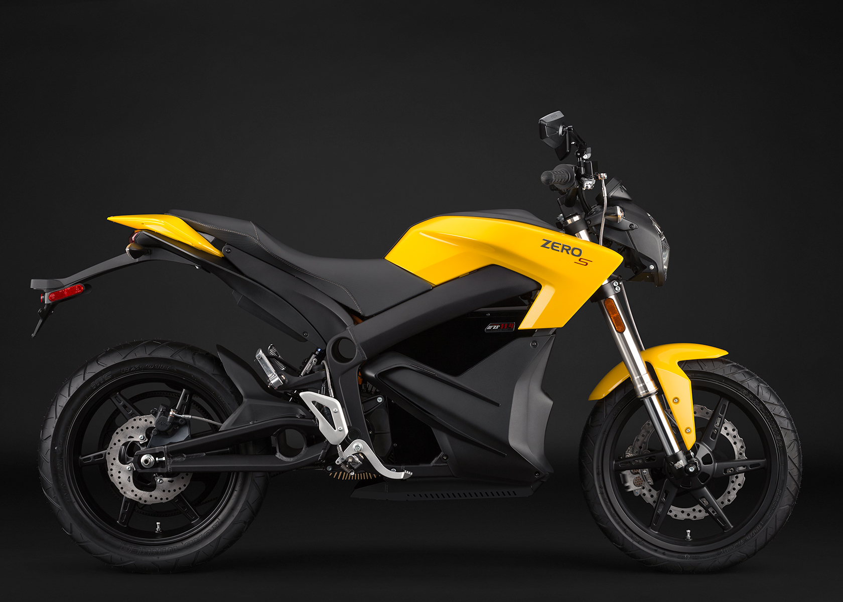 '.2014 Zero S Electric Motorcycle: Yellow Profile Right.'