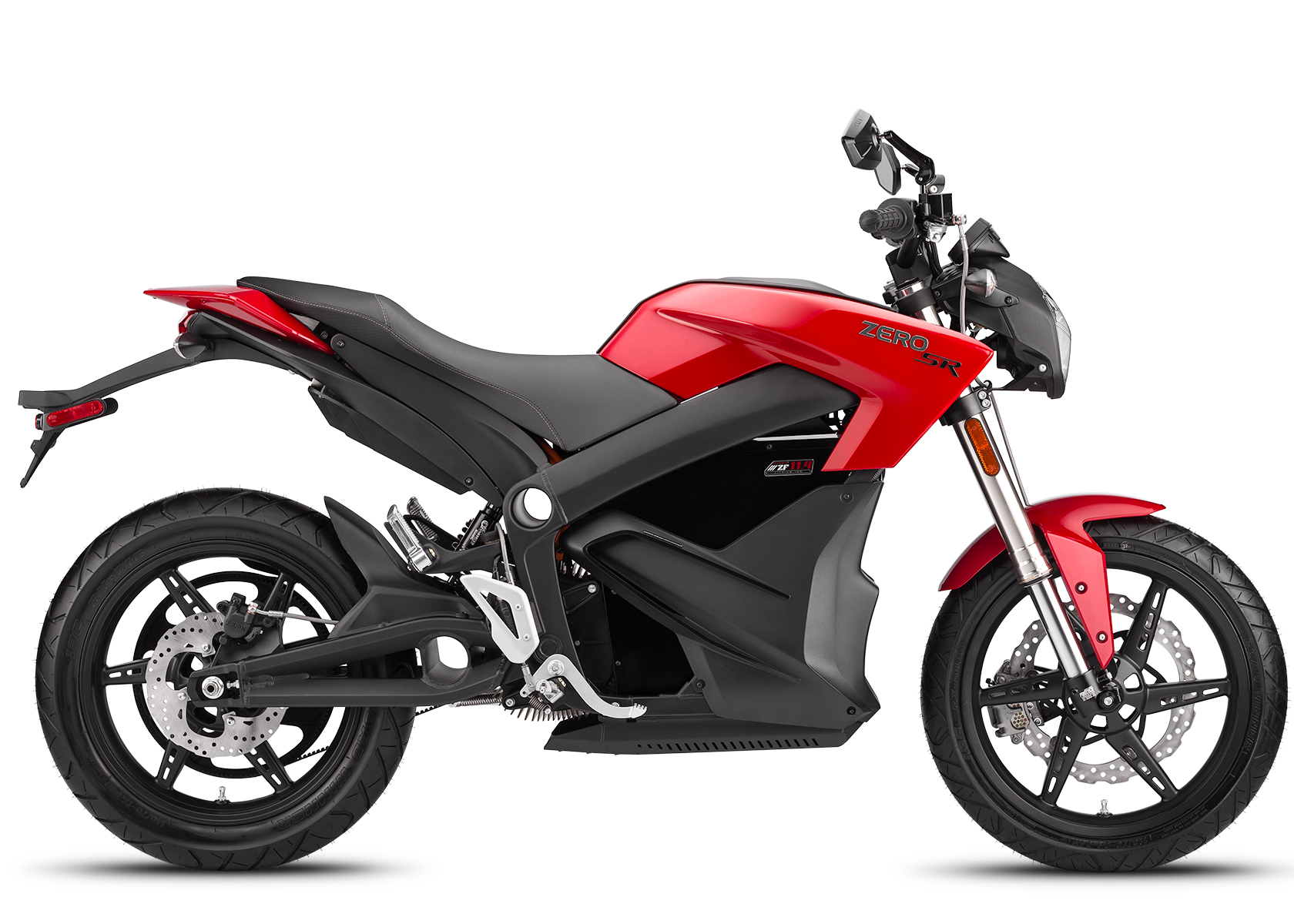 '.2014 Zero SR Electric Motorcycle: Profile Right, White Background.'