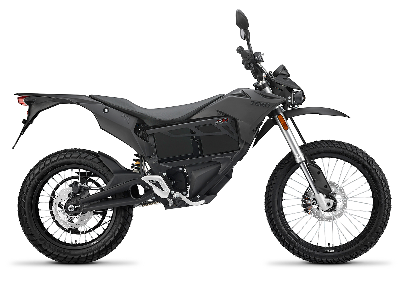 2015 Zero FX Electric Motorcycle: Black Profile Right, White Background