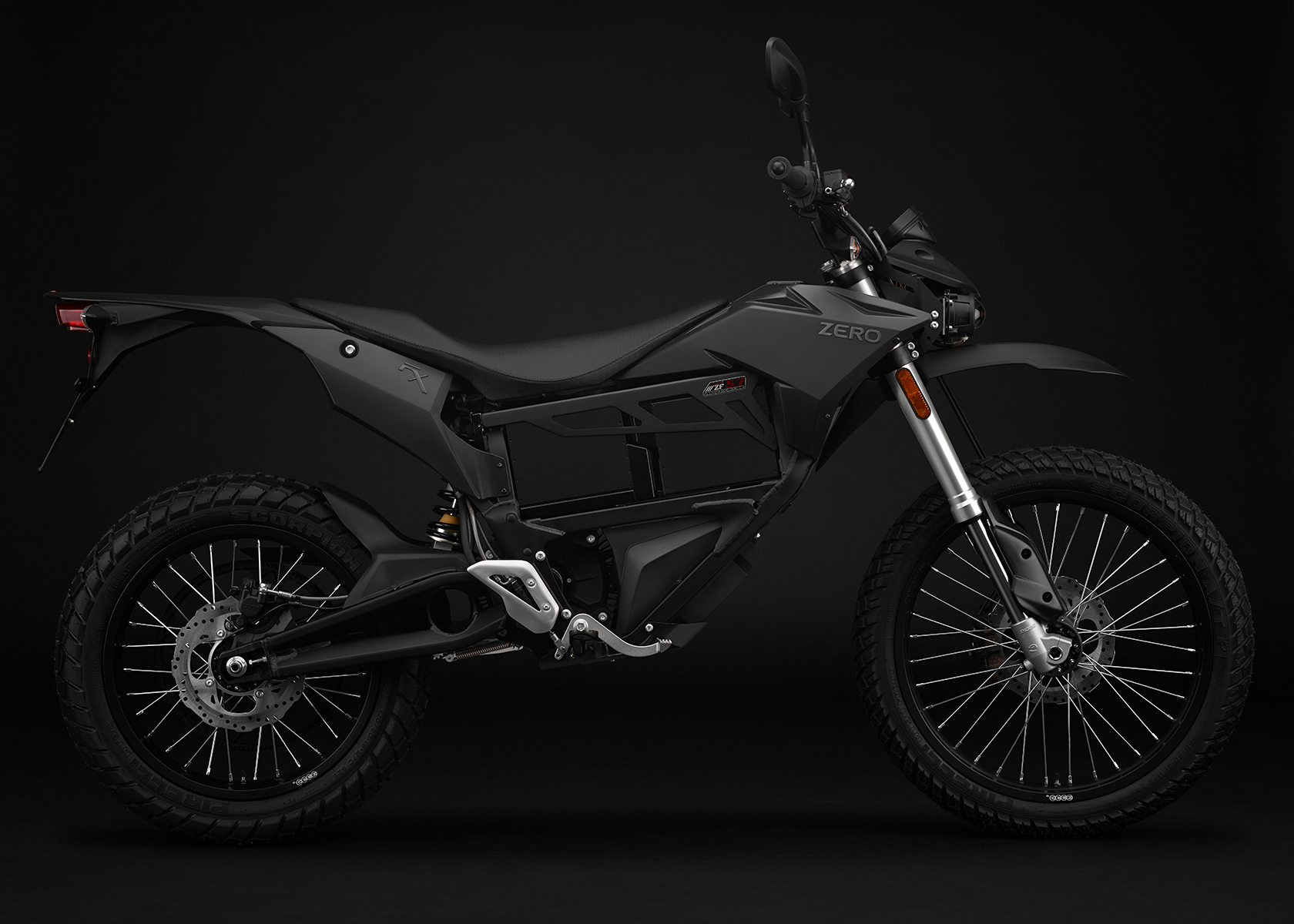2015 Zero FX Electric Motorcycle: Black Profile Right