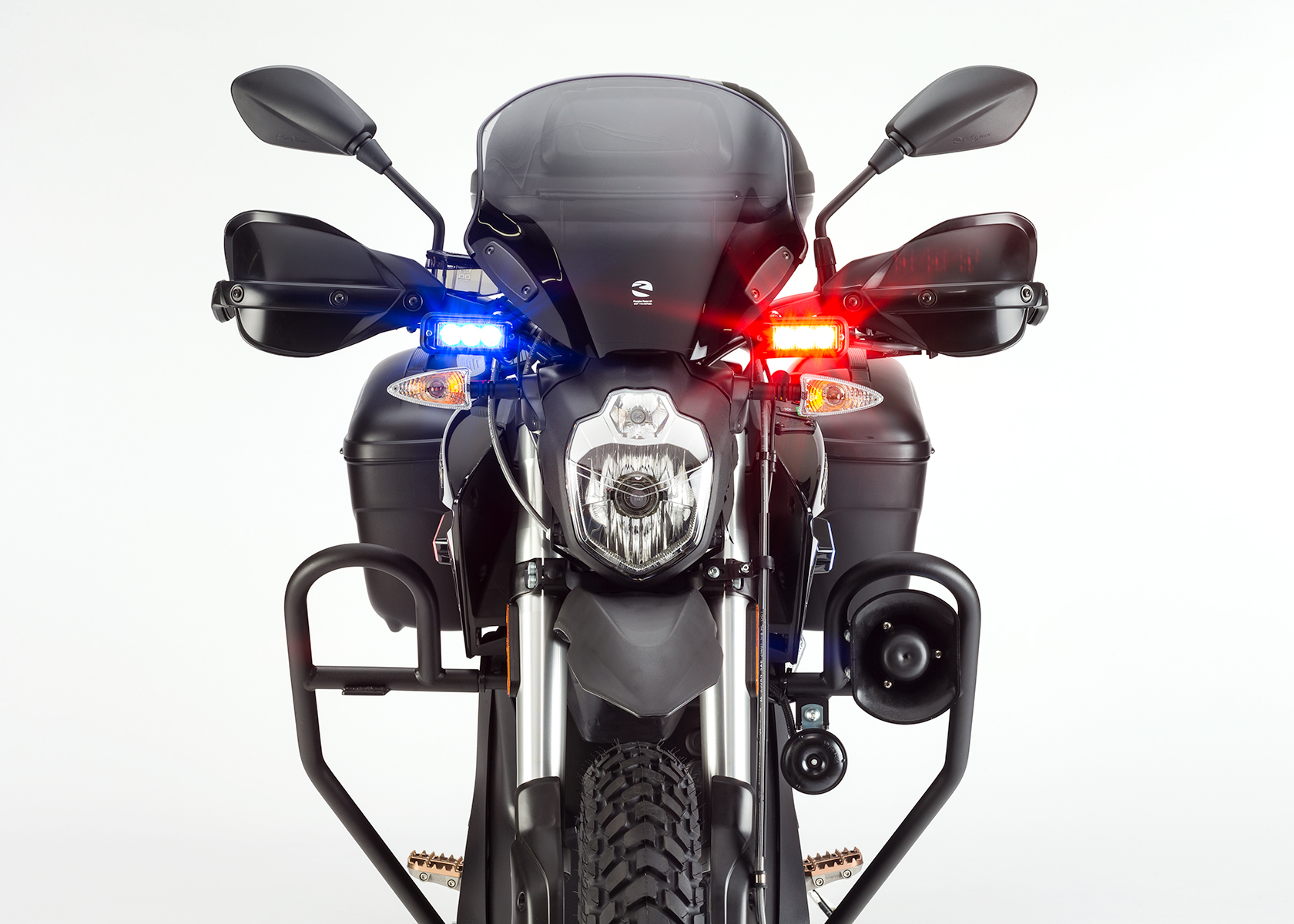 2015 Zero Police Electric Motorcycle: Front view, Lights on