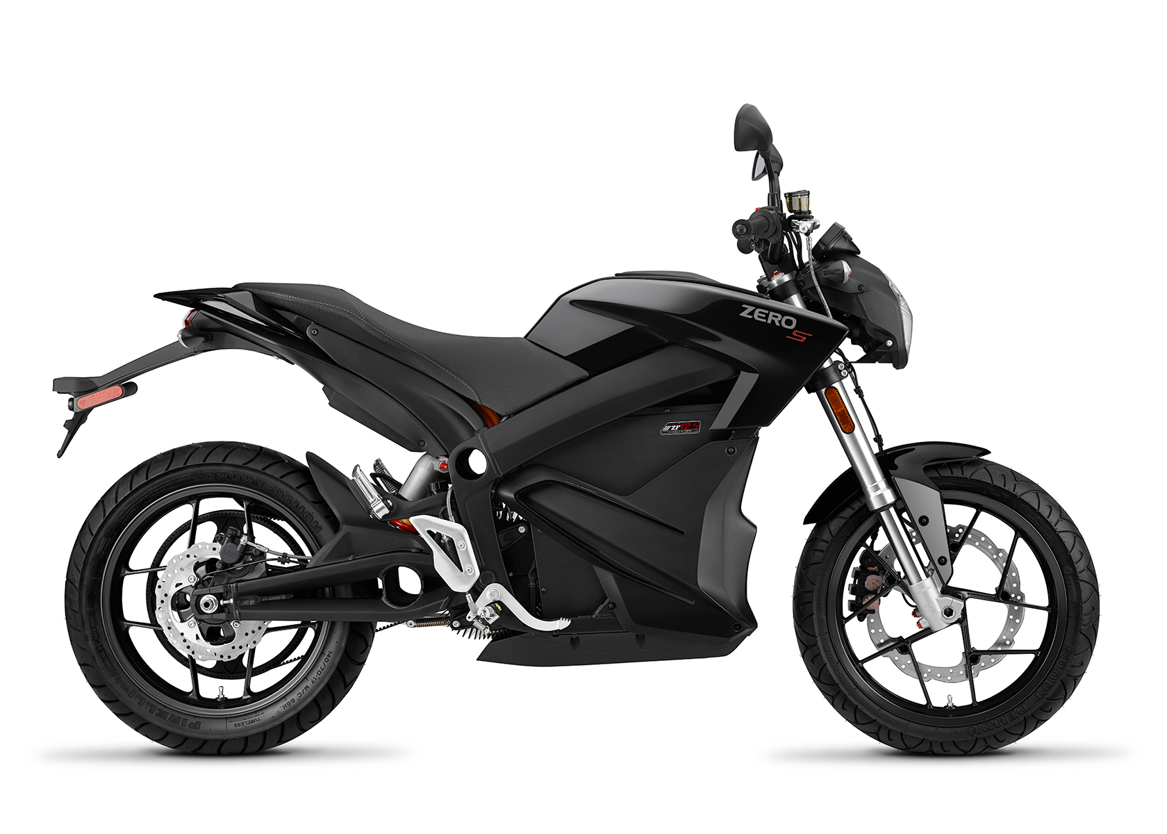 2015 Zero S Electric Motorcycle: Black Profile Right, White Background