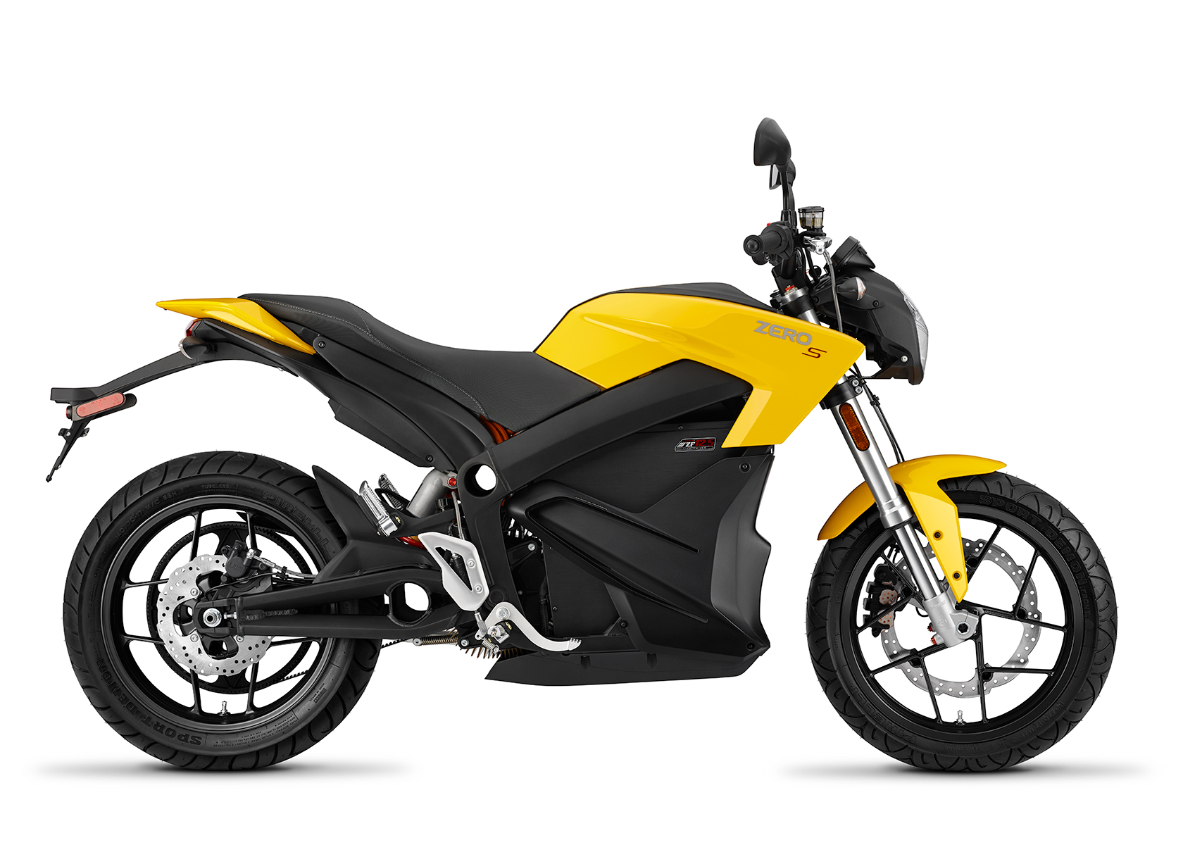 2015 Zero S Electric Motorcycle: Yellow Profile Right, White Background
