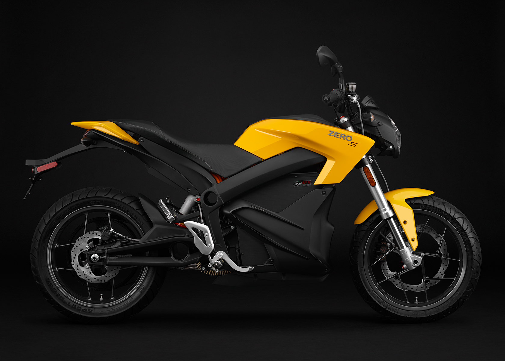 2015 Zero S Electric Motorcycle: Yellow Profile Right