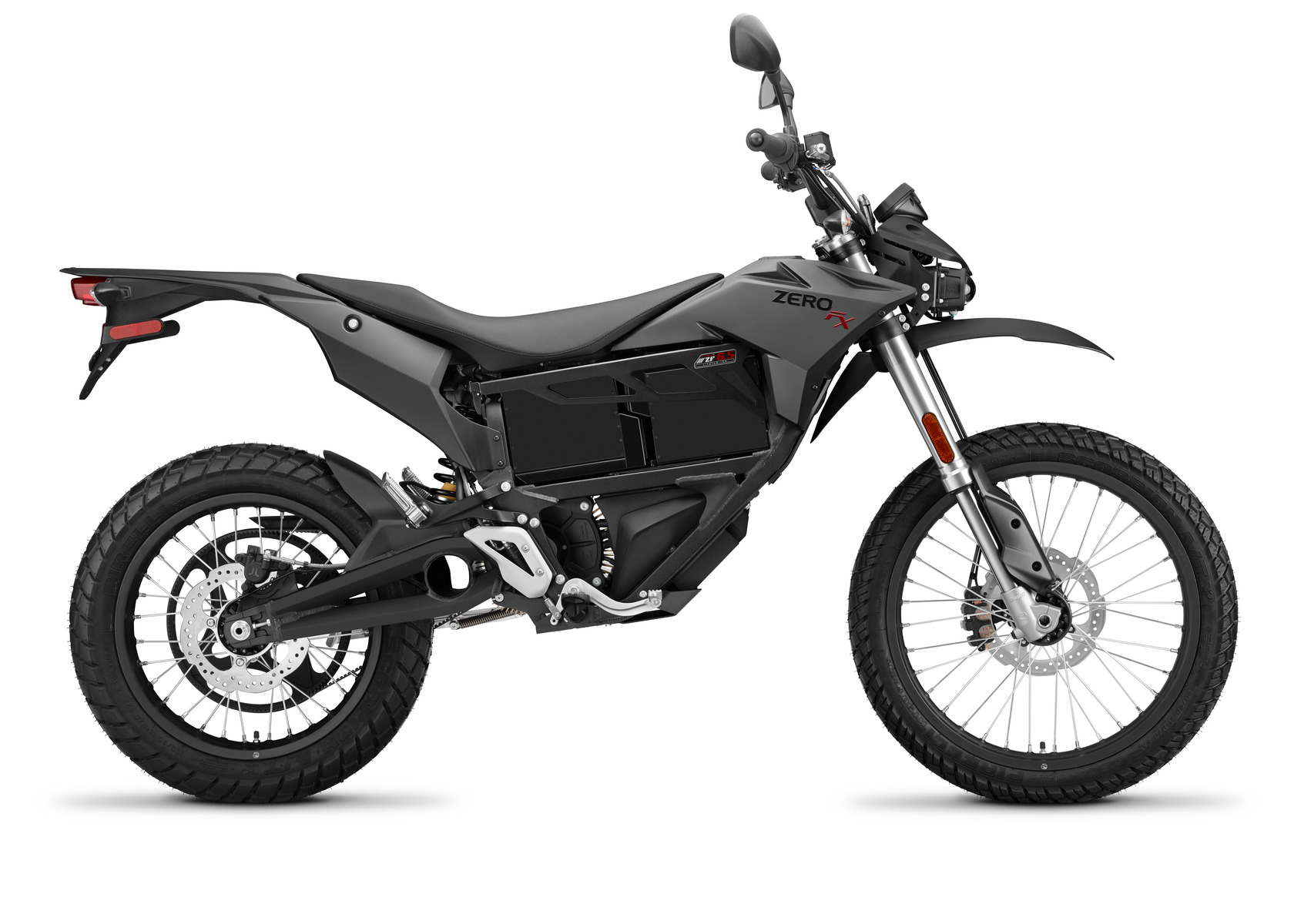 2016 Zero FX Electric Motorcycle: Black Profile Right, White Background
