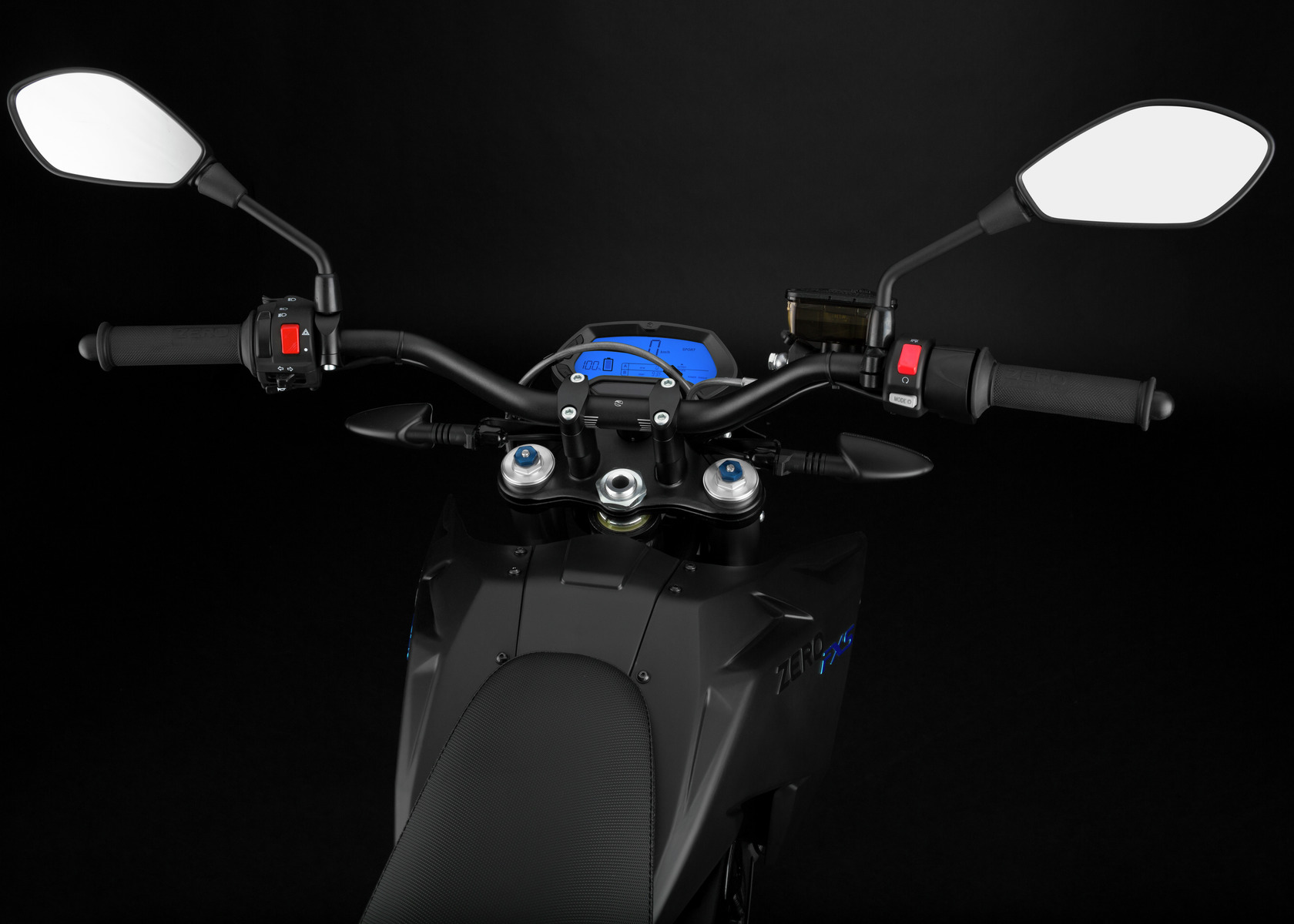 2016 Zero FXS Electric Motorcycle: Handlebars, Dash and Controls