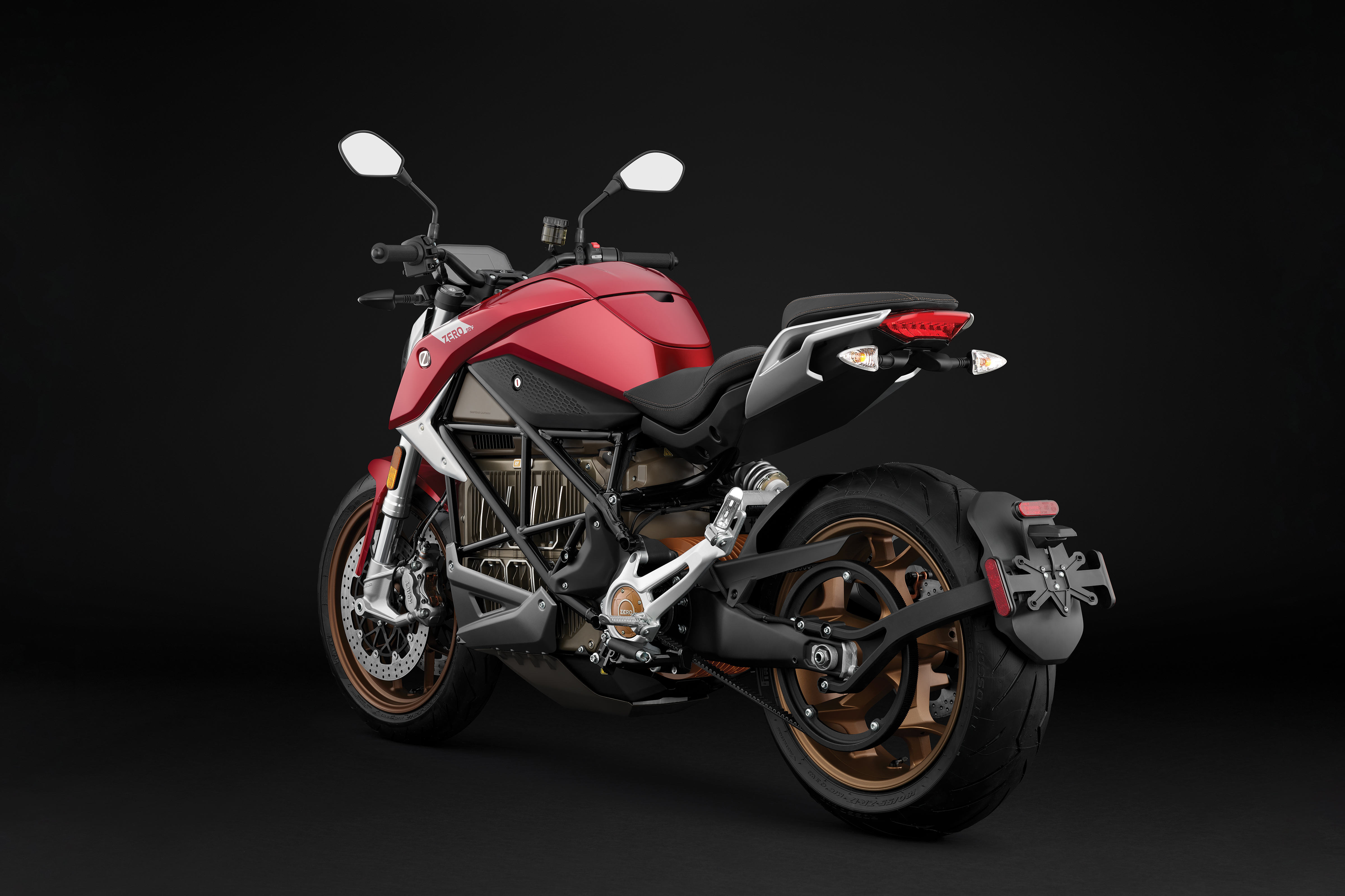 2020 Zero SR/F ZF14.4 Red Electric Motorcycle: Left Angle, Rear