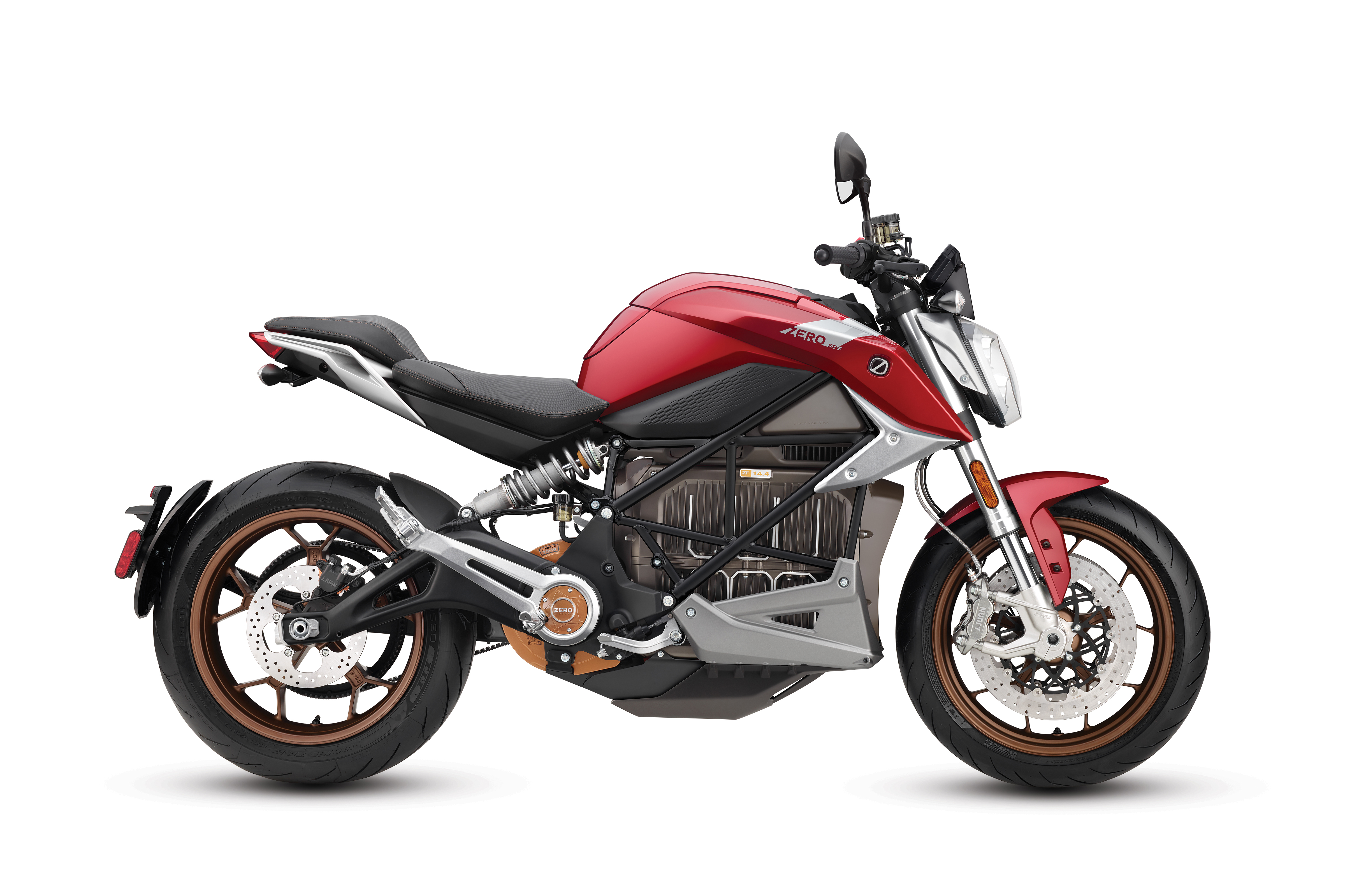 2020 Zero SR/F ZF14.4 Red Electric Motorcycle: Right Profile, White background